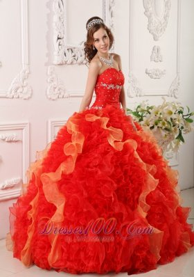 New Discount Red Quinceanera Dress Sweetheart Organza Appliques and Beading Ball Gown