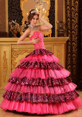New Beautiful Hot Pink Quinceanera Dress Ball Gown Sweetheart Organza and Zebra Beading
