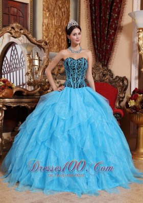 New Modest Aqua Blue Quinceanera Dress Sweetheart Floor-length Organza Embroidery with Beading Ball Gown