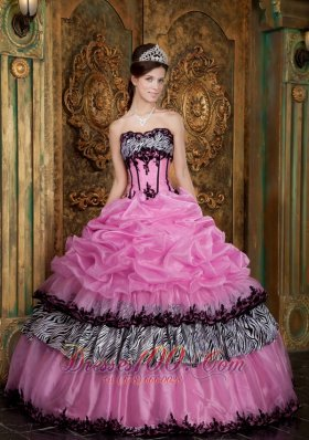New Elegant Rose Pink Quinceanera Dress Strapless Picks-Up Organza and Zebra Ball Gown