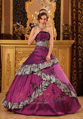 New Pretty Fuchsia Quinceanera Dress Strapless Taffeta Embroidery Ball Gown