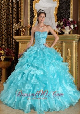 New Aqua Blue Ball Gown Sweetheart Floor-length Ruffles Organza Quinceanera Dress