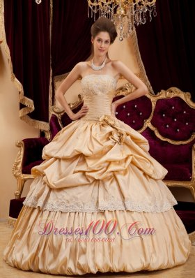 New Beautiful Champagne Quinceanera Dress Strapless Taffeta Appliques Ball Gown
