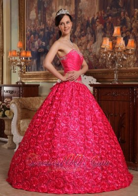 New Wonderful Hot Pink Quinceanera Dress Strapless Fabric With Roling Flowers Appliques Ball Gown
