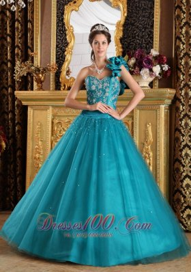 New Teal A-Line / Princess One Shoulder Floor-length Tulle Beading Quinceanera Dress