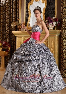 New Popular Quinceanera Dress Sweetheart Floor-length Zebra Ball Gown