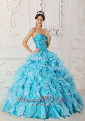 New Classical Sky Blue Quinceanera Dress Sweetheart Taffeta and Organza Beading A-Line / Princess