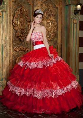 New Red Ball Gown Strapless Floor-length Organza and Zebra Ruffles Quinceanera Dress