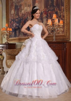 New White Ball Gown Sweetheart Floor-length Organza Appliques Quinceanera Dress
