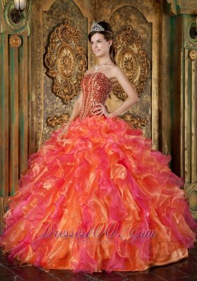 New Multi-Color Ball Gown Strapless Floor-length Organza Beading and Ruffles Quinceanera Dress
