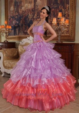 New Discount Lavender Quinceanera Dress Halter Organza Beading Ball Gown