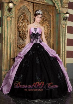 New Lavender Ball Gown Strapless Floor-length Taffeta Appliques Quinceanera Dress