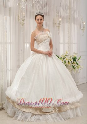 New White Ball Gown Strapless Floor-length Taffeta Beading Quinceanera Dress