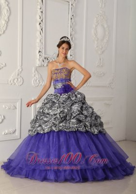 New Brand New Purple Quinceanera Dress Strapless Chapel Train Zebra and Organza Ball Gown