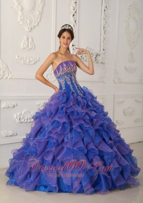 New Pretty Royal Blue and Purple Quinceanera Dress Strapless Organza Beading and Appliques Ball Gown