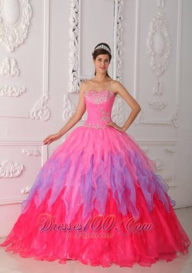 New Lovely Hot Pink Quinceanera Dress Sweetheart Organza Beading and Ruch Ball Gown