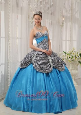 New Cheap Blue Quinceanera Dress Sweetheart Taffeta and Zebra or Leopard Ruffles Ball Gown