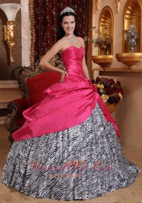 New Elegant Hot Pink Sweet 16 Dress Sweetheart Taffeta and Zebra Beading Ball Gown