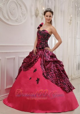 New Cheap Hot Pink Quinceanera Dress One Shoulder Zebra or Leopard Appliques Ball Gown