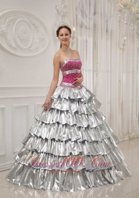 New Popular Quinceanera Dress Strapless Satin and Taffeta Beading A-line / Princess