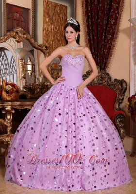 New Classical Lavender Quinceanera Dress Sweetheart Tulle Sequins Ball Gown