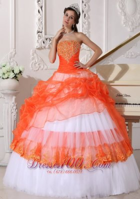 New Beautiful Orange and White Quinceanera Dress StraplessTaffeta and Organza Appliques Ball Gown