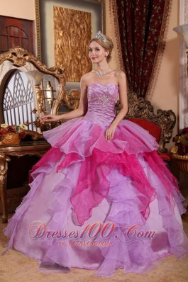 New Affordable Lavender and Hot Pink Quinceanera Dress Sweetheart Organza Beading Ball Gown