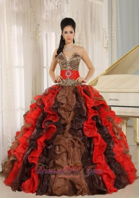 New Wholesale Multi-color 2013 Quinceanera Dress V-neck Ruffles With Leopard and Beading In Resistencia