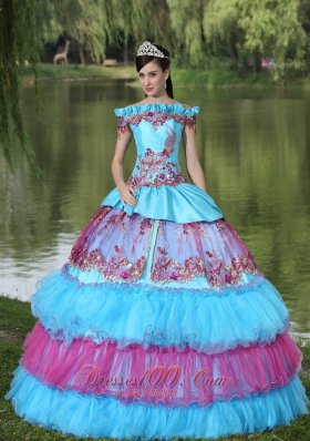 New Off The Shoulder Appliques Ball Gown Quinceanera Dress For 2013 Floor-length Tiered Exclusive Style