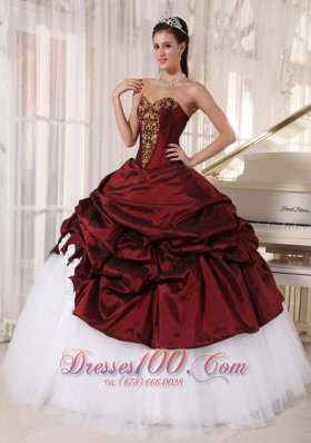 Popular Best Burgundy and White Quinceanera Dress Sweetheart Taffeta and Tulle Appliques Ball Gown