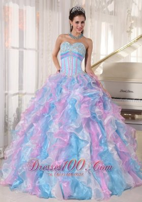 Popular Beautiful Multi-color Quinceanera Dress Sweetheart Organza Appliques Ball Gown
