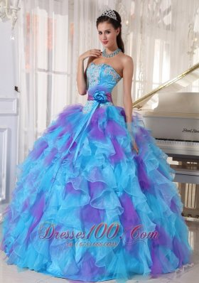 Popular Baby Blue and Purple Quinceanera Dress Strapless Organza Appliques Ball Gown