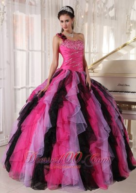 Popular Beautiful Multi-colored Quinceanera Dress One Shoulder Organza Beading and Ruffles Ball Gown