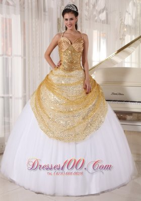 Popular Informal Champagne and White Quinceanera Dress Spaghetti Straps Tulle and Sequin Appliques Ball Gown
