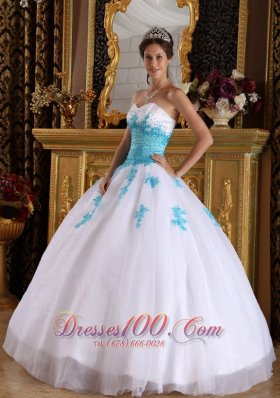 Popular Elegant White and Blue Quinceanera Dress Sweetheart Appliques Organza Ball Gown