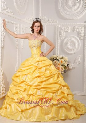 Popular Brand New Yellow Quinceanera Dress Strapless Court Train Taffeta Appliques and Beading Ball Gown