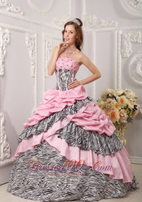 Popular Romantic Pink Zebra Ball Gown Strapless Taffeta and Beading Quinceanera Dress