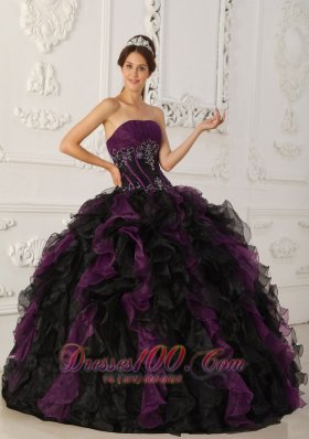 Popular Brand New Purple and Black Quinceanera Dress Strapless Taffeta and Organza Beading Ball Gown