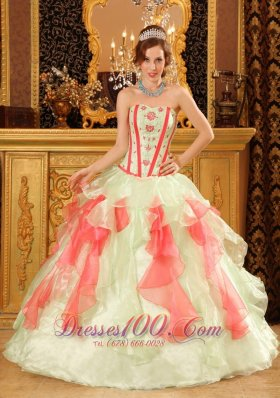 Popular Perfect Multi-Color Quinceanera Dress Sweetheart Organza Appliques Ball Gown