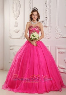 Popular Hot Pink A-Line / Princess Sweetheart Floor-length Satin and Organza Beading Quinceanera Dress