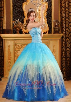 Popular Gorgeous Ball Gown Sweetheart Floor-length Beading Satin and Organza Blue Quinceanera Dress