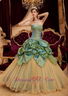 Popular Remarkable Olive Green Quinceanera Dress Strapless Taffeta and Tulle Beading Ball Gown
