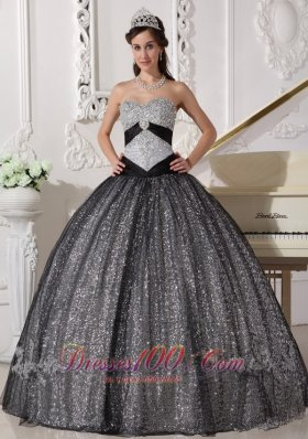 Popular Beautiful Black Quinceanera Dress Sweetheart Sequined and Tulle Appliques Ball Gown