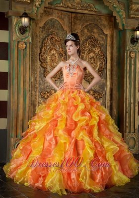 Popular Orange Ball Gown Strapless Floor-length Organza Ruffles Quinceanera Dress