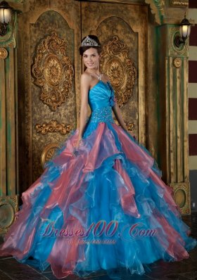 Popular Blue Ball Gown Strapless Floor-length Organza Beading and Ruffles Quinceanera Dress