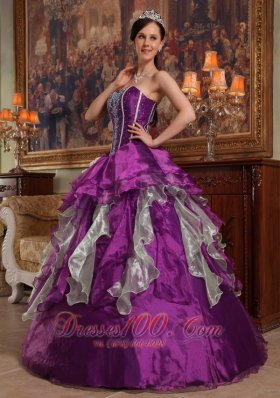 Popular Purple Ball Gown Sweetheart Floor-length Organza Beading Quinceanera Dress