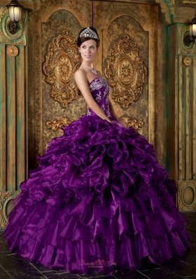 Popular Purple Ball Gown Strapless Floor-length Organza Ruffles Quinceanera Dress