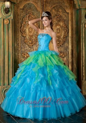 Popular Cheap Blue Quinceanera Dress Strapless Organza Ruffles Ball Gown