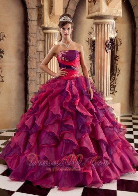 Popular Multi-color Ball Gown Strapless Floor-length Organza Ruffles Quinceanera Dress