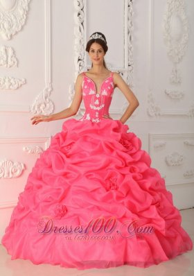 Popular Watermelon Ball Gown Straps Floor-length Satin and Organza Appliques Quinceanera Dress